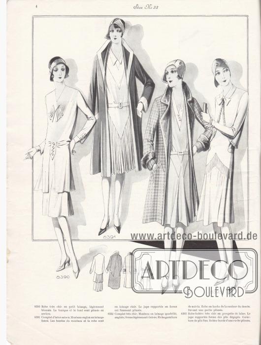 8390: Robe très chic en petit lainage, légèrement blousée. La tunique et le fond sont plissés en arrière. 8391: Complet d'inter-saison. Manteau-raglan en lainage foncé. Les bandes du manteau et la robe sont en lainage clair. La jupe rapportée en forme est finement plissée. 8392: Complet très chic. Manteau en lainage quadrillé, anglais; forme légèrement cintrée. Riche garniture de nutria. Robe en kasha de la couleur du dessin. Devant une partie plissée. 8393: Robe-boléro très chic en georgette de laine. La jupe rapportée forme des plis dégagés. Garniture de plis fins. Boléro bordé d'une ruche plissée.
