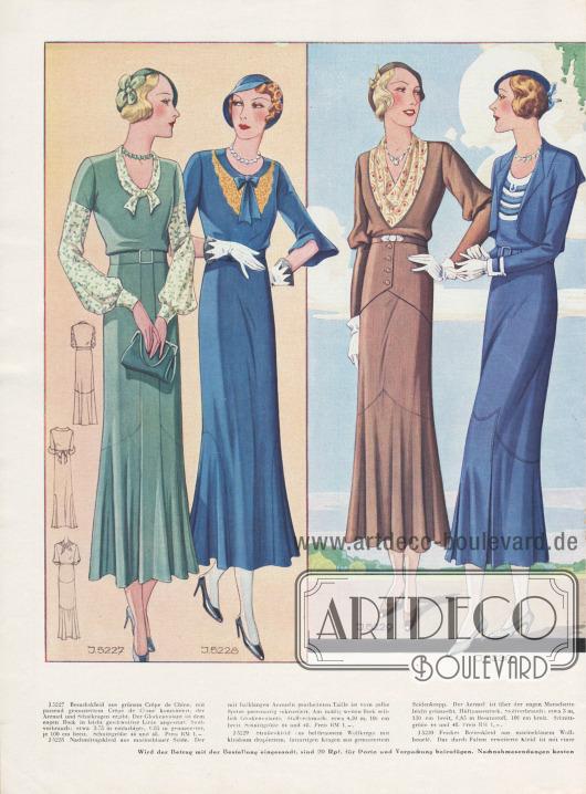 Farbige Doppelseite mit Nachmittagskleidern, Straßenkleidern und einem Bolerokleid (viertes Modell von links). Die Kleider sind aus Seide, Crêpe de Chine, Wollkrepp und Wollbouclé gefertigt.