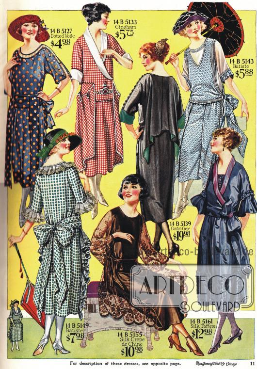 Einfache Kleider aus bedrucktem Gingham und Batist und drei teurere Kleider aus Seide und Baumwollkrepp.