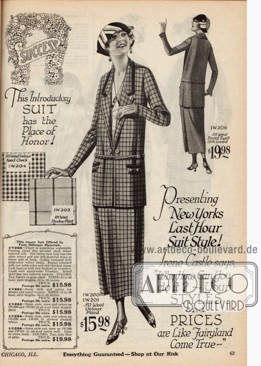 """Das """"neueste New Yorker"""" Schneiderkleid wahlweise aus kleinkariertem Woll-Velours oder großkariertem dickem Wollstoff für 15,98 Dollar oder aus Woll-Poiret-Garn für 19,98 Dollar. Die Taschen und der Kragen der Jacke sind mit Tressenbesatz versehen."""