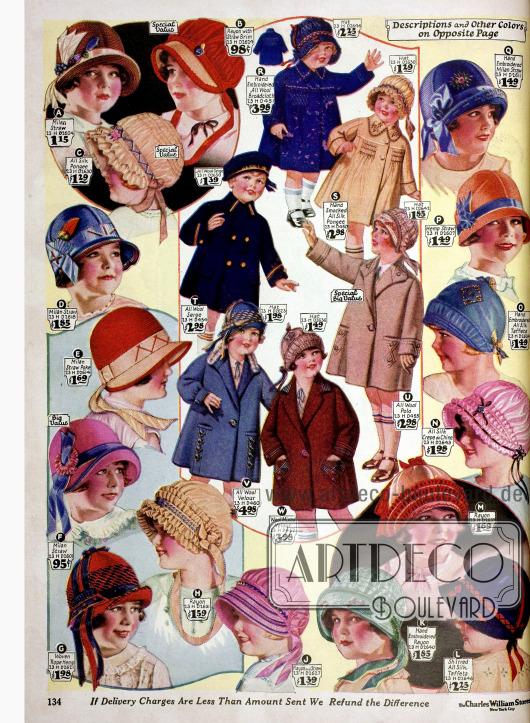 Hütchen, Bonnets und Mäntel auf Wollstoffen für kleine Mädchen.