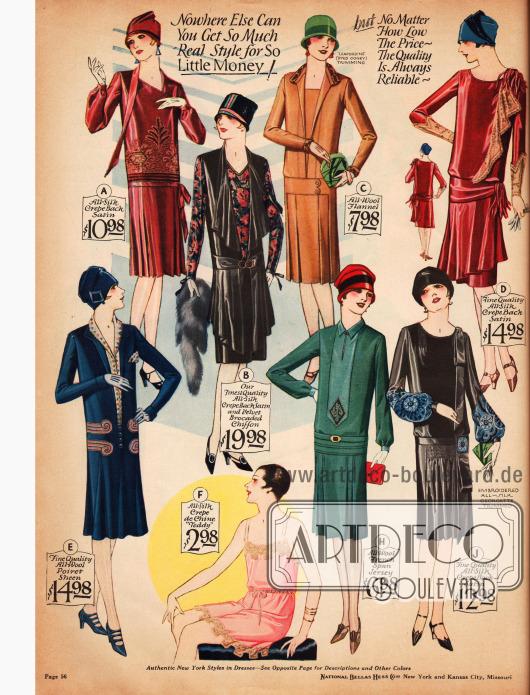 Damenkleider aus Seiden-Krepp-Satin (Model A, B, D, J), Woll-Flanel (C), schimmerndem Woll-Poiret (E) und Woll-Jersey (H).Bei genauerer Betrachtung fällt auf, das Kragenformen bei allen Kleidern unterschiedlich ausfallen.Unten im Bild findet man ein Hemdhöschen aus Seiden Crêpe de Chine mit Spitzenberandung.