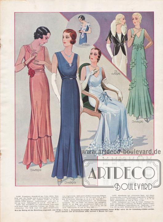 Vornehme Abendkleider 1931. Links ein Tunikakleid. Rechts zwei Modelle mit Rüschen und Volants.