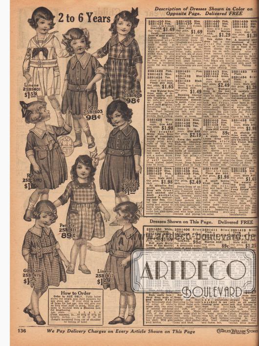 Weit geschnittene Kleidchen für 2 bis 6-jährige Mädchen. Die Kleider sind aus Leinen, Rep (Stoff in Ripsbindung, meist Baumwolle), grob kariertem Gingham und Perkal. Feine Stickereien, aufgesetzte Taschen, farblich abstechende Garnituren, Schleifen, Zierknöpfe und eingearbeitete Falten sorgen für unterschiedliche Akzente. Ein Modell im Matrosenstil.