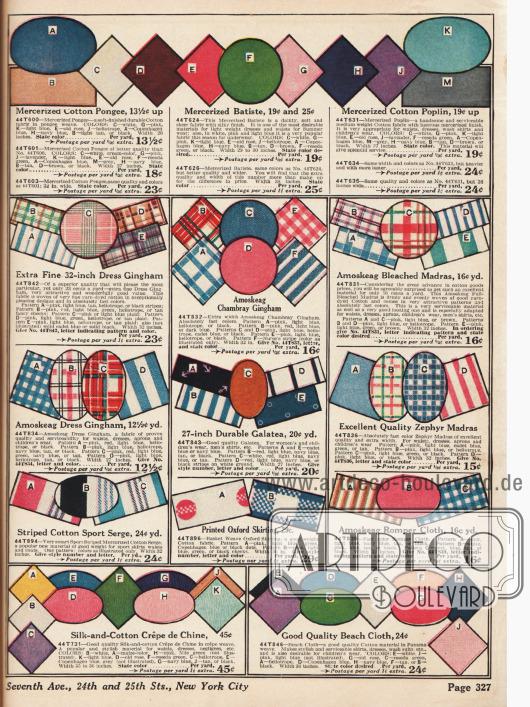Gingham, Chambray-Gingham, Madras, Baumwoll-Serge, Galatea und Baumwoll-Crêpe de Chine für Sportröcke und einfache Kleider.