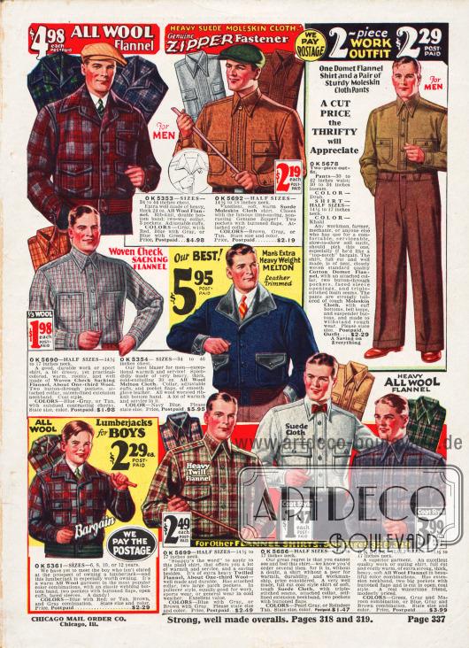 Ein Blazer (dt. Sportjacke) und ein Lumberjack (dt. Holzfällerjacke) aus kariertem Woll-Flanell und Wollmischstoff für Männer und Jungen sowie Arbeits- und Flanellhemden aus Englischleder, Woll-Velours und Woll-Flanell. Oben rechts wird ein zweiteiliges Arbeitsoutfit bestehend aus Flanellhemd und Hose beworben.