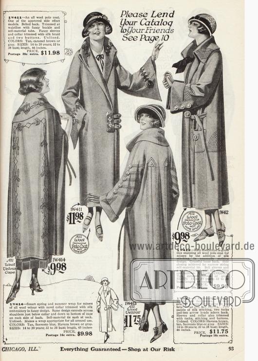 Doppelseite mit zwei Umhängen und sechs Frühjahrsmänteln für Damen aus Woll-Velours und Woll-Polostoff. Neben den weiten Glockenärmeln und breiten Kragen dienen Stickereien und Zierknöpfe der Dekoration.