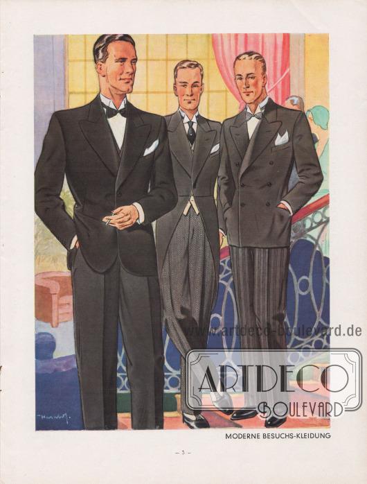 """""""Moderne Besuchs-Kleidung"""". Links: Einreihiger kombinierter Sakkoanzug mit elegantem schwarzem Sakko und dunkler Bügelfaltenhose für halboffizielle Gelegenheiten. Mit Taillenabnähern und Schluss auf zwei Knöpfen. Mitte: Feierlicher Cutaway, bzw. Cut, für besondere gesellschaftliche Verpflichtungen und Anlässe. Taille und Brust sind betont. Die Revers fangen breit und geschwungen an und verlaufen spitz ausrollend. Schlank geschnittener Schoß. Rechts: Doppelreihiger kombinierter Anzug, bestehend aus schwarzer oder anthrazitgrauer Jacke und einer grauen, dunkel gestreiften Hose. Jacke mit auseinanderstehendem blindem Knopfpaar, das zusätzlich den Oberkörper betont; glatter Schoßabschluss. Steigende, fein abrollende Revers. Illustration/Zeichnung: Harald Schwerdtfeger (1888-1956)."""