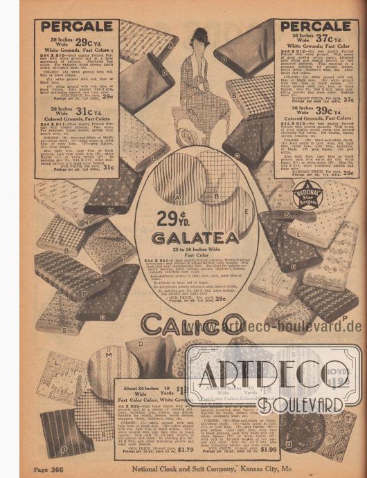 Bedruckte, farbige und gemusterte Baumwollstoffe für einfache Kleider und Haushaltskleider in waschbaren, farbechten Ausführungen. Unter den angebotenen Stoffen befinden sich Perkal, Galatea und Calico. Die Breite der angebotenen Stoffe variiert zwischen 24 und 36 Inch (also 60,96 und 91,44 cm), während die Preise sich auf ein Yard Länge (91,44 cm) beziehen und zwischen 29 Cent und 1,98 Dollar liegen.