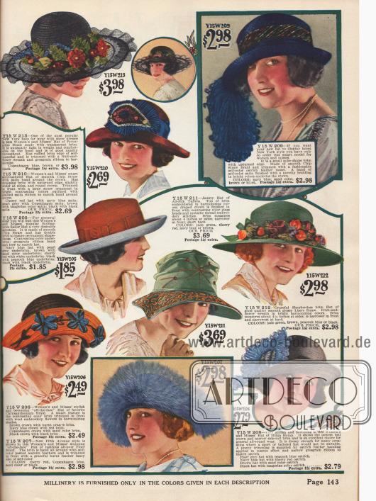 Hüte mit breiter oder kurzer gerollter Krempe aus Stroh und Seiden-Taft. Ripsbänder, Früchte- und Blumenkränze, Strohornamente, Straußenfedern, Wollstickereien oder Stickereien aus Metallfäden zieren die Hüte.