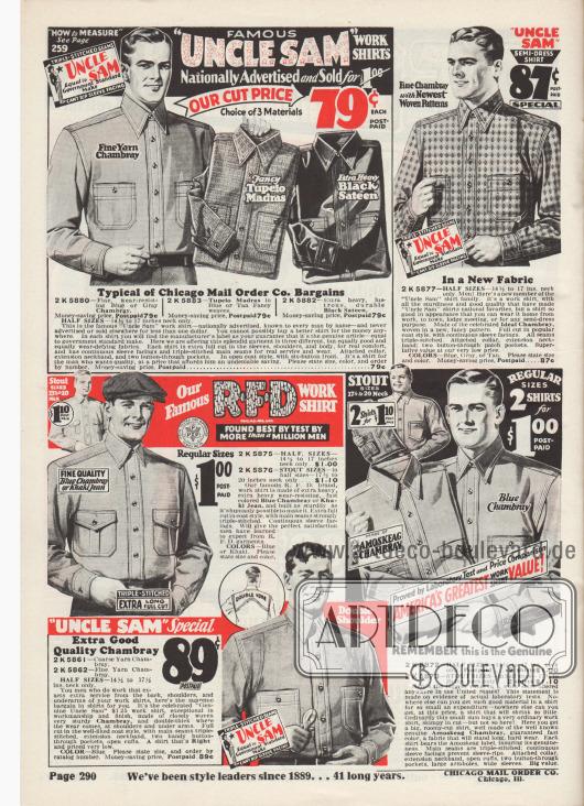"""""""Berühmte 'Uncle Sam' Arbeitshemden werden landesweit beworben und für 1,- Dollar verkauft"""" (engl. """"Famous 'Uncle Sam' Work Shirts Nationally Advertised and Sold for $1.00""""). Arbeitshemden aus einfarbigen oder gemusterten Stoffen wie Chambray, Madras, Satin, Khaki-Jeansstoff oder Amoskeag Chambray (Produkt der Amoskeag Manufacturing Co. in Manchester, New Hampshire, USA) für Männer. Oben links Hemden der US-Marke Uncle Sam. Die Hemden besitzen verstärkte Nähte, aufgesetzte Taschen und doppelte Knopfleisten."""