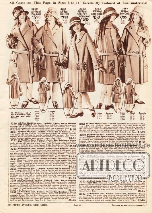 Fünf Mäntel aus Wollgeweben und Woll-Velours für Mädchen im Alter von 8 bis 14 Jahre.Lange Gürtel (nur ein Mantel ist gürtelos), aufgesetzte Taschen, Stepperei, Stickereien und große Zierknöpfe sind an den Mänteln zu finden.