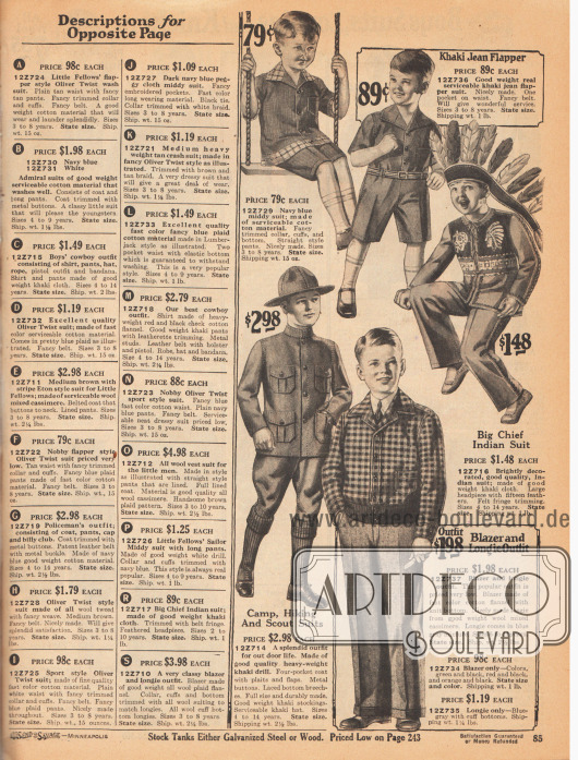 """Spiel- und Freizeitanzüge für 3 bis 14-jährige Jungen.Die oberen beiden Anzüge sind aus Baumwolle und Khaki-Jeansstoff, der Indianeranzug ist aus leichtem Khakigewebe und der Lager-, Wander- und Pfadfinderanzug (engl. """"Scout Suit"""") unten links aus schwerem Khakigewebe.Der Anzug unten rechts besteht aus einem Blazer aus kariertem Baumwoll-Flanell und die langen Hosen aus Woll-Kaschmir-Mischgewebe."""