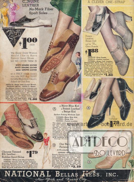 Sportschuhe, Sandalen und elegante Pumps für Damen.