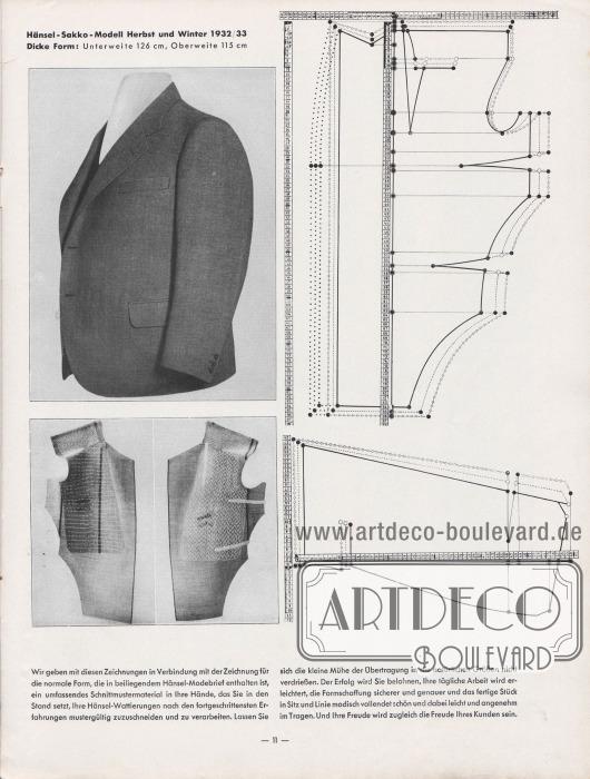 Artikel: Henschke, Bruno, Die Hänsel-Wattierung.  Rechts werden zwei Schnittmuster mit Maßbändern für das fotografisch abgebildete Sakko gezeigt. Das gezeigte Sakko besitzt eine Unterweite von 126 cm und eine Oberweite von 115 cm (dicke Form). Unter dem Foto des fertigen Sakkos werden zwei teilverarbeitete Werkstücke (Achselstücke mit Schulter- und Rückenpartie) gezeigt.  Fotos: Hänsel & Co. A.-G. Illustration/Zeichnung: Hänsel & Co. A.-G.