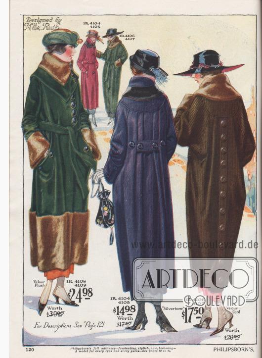 """Herbst- und Wintermäntel aus Velours-Plüsch, """"Silvertone"""" (aufgeraut-wolliges Baumwoll-Woll-Mischgewebe) und Velours Kord. Die äußeren Mäntel sind mit Webpelz in Biberoptik an Kragen, Ärmeln und Saum verbrämt. Der erste Mantel in Dunkelgrün zeigt eine modifizierte Dolman Linie. Gürtel aus Mantelmaterial. Die Ärmel sind glockig geschnitten und die großzügig eingelassenen Beuteltaschen sind mit Knöpfen verziert. Geblümtes Satin dient als Mantelfutter. Auch der mittlere Mantel ist eine Variation des Dolmans. Dieser ungefütterte Mantel in Dunkelblau zeigt eine runde Schulterpasse, an der die Rückenpartie in Falten angesetzt ist. Der Gürtel zeigt sich im Rücken, hält die Weite zusammen und tritt vorne wieder hervor. Der konvertierbare Kragen ist mit Plüsch besetzt. Der dritte Mantel im Dolman Stil präsentiert Raglanärmel und eine mit Knöpfen verzierte Falte im Rücken. Weite Ärmel und eingelassene Schlitztaschen."""