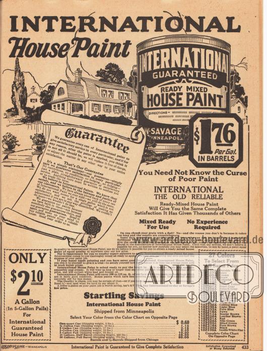 Farbe zum Streichen von Wohnhäusern der Marke International Paint. Die Hausfarbe ist in 27 Farben erhältlich (Kasten rechts unten). Die Preise beziehen sich auf eine amerikanische Gallone (= 3,79 Liter).