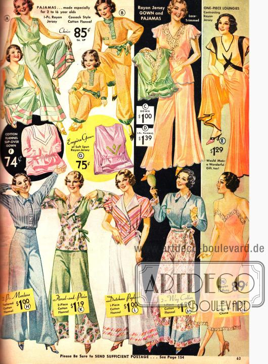 """Pyjamas aus Woll-Flanell für legere Stunden, darunter ein Model mit dem Namen """"Marlene""""."""