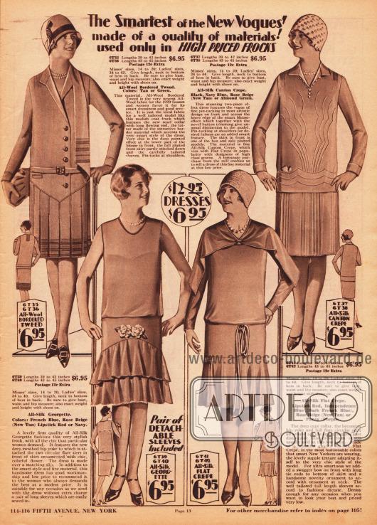 Mondäne Damenkleider und sommerliche Nachmittagskleider aus Woll-Tweed, Seiden-Georgette und Seiden Krepp. Alle Kleider sind zum Einzelpreis von 6,95 Dollar bestellbar. Das erste Modell oben links zeigt einen punktuell verlängerten Schalkragen und Biesen an den Schultern. Saum und Schal sind mit farblich abstechender Borte garniert. Das leichte Nachmittagskleid unten links besitzt abnehmbare Ärmel und zeigt einen doppelten, bogig angesetzten Volantrock, der oberhalb mit Stoffblüten verziert ist. Das Modell rechts daneben zeigt einen tief angesetzten Glockenrock, lose fallende Bänder und ein breites, geteiltes Cape. Das Kleid oben rechts präsentiert kunstvolle Biesengarnierung.