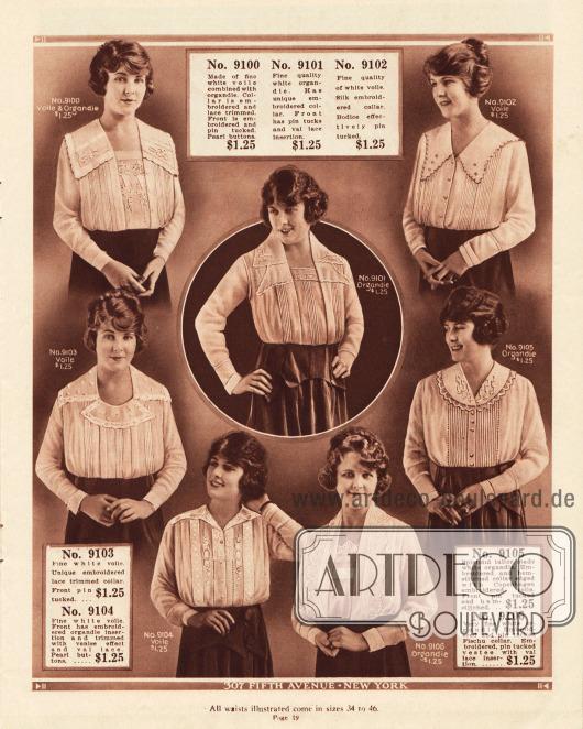 Damenblusen aus Schleierstoffen und Organdy. Alle Blusen besitzen breite, ausladende Kragen, Biesen, Stickereien oder sind mit einem Brusteinsatz gearbeitet.