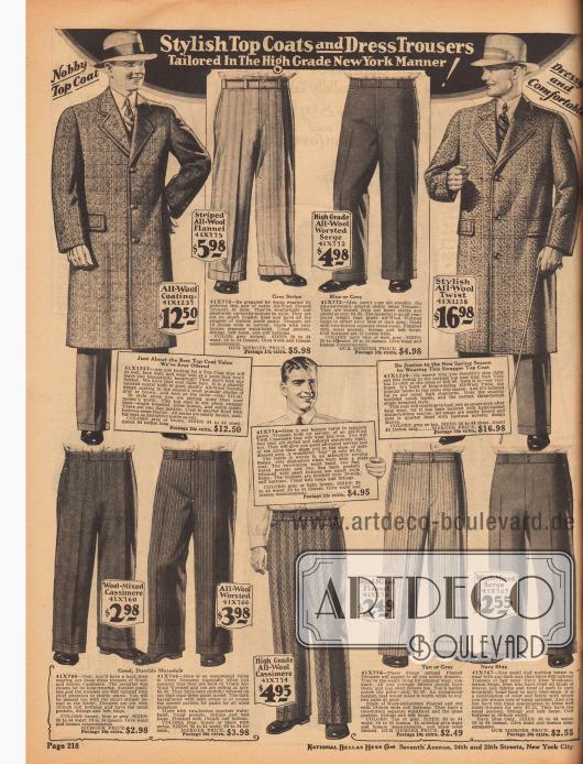 Zwei einreihige Mäntel für Herren aus Wollstoffen sowie feine Anzughosen in hellen und dunklen Farben aus Woll-Flanell, Woll-Serge, Woll-Baumwoll-Kaschmir, Woll-Kaschmir, Woll-Baumwoll-Flanell und Woll-Baumwoll-Serge.