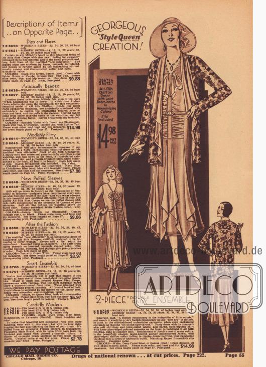 """""""Prächtige 'Style Queen' Kreation!"""" (engl. """"Gorgeous 'Style Queen' Creation!""""). Elegantes, zweiteiliges Sommer-Ensemble, bestehend aus einem duftigen Oberkleid aus Seiden-Chiffon mit passendem Unterkleid aus Rayon-Breitgewebe und einer reich bestickten, hüftlangen Jacke mit wasserfallartig drapiertem Revers zum Preis von 14,98 Dollar. Das ärmellose Kleid zeigt in der Front eingearbeitete Fältchen, eine Blende mit Jabot und Picotkante sowie zipfelig verlängerte Rockteile."""