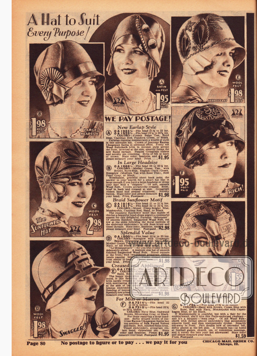 Modische Hüte mit kurzen Krempen und Kappen ohne Krempen für Damen aus Rayon-Satin, Wollfilz und Seiden-Samt. Aufgeputzt sind die Hüte mit Stickereien, Ornamenten, Hutnadeln, Glitzerschmuck, Ripsbändern und auch durch großflächige Blütenmotive.