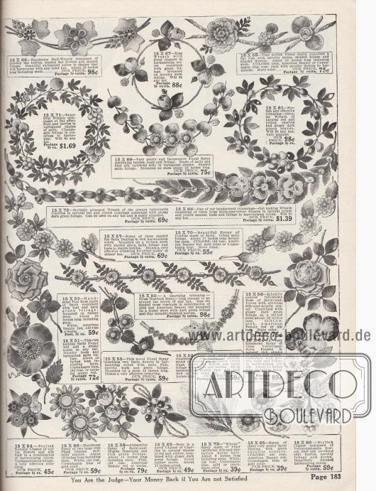 Künstliche Pflanzen-, Blüten und Blumenranken (Stiefmütterchen, Dahlien und Rosenknospen), Gebinde und Zweige mit Blattwerk, bunte Chenille-Ornamente, Weizen-Kornähren, Knospen, Beeren und Kirschen aus Samt und Seide zum Aufputzen unverzierter bzw. ungarnierter Hüte, die auf den Seiten 180 bis 182 angeboten werden. Die Zweige, Gebinde und Ranken sind aus Drähten oder Gummi hergestellt.