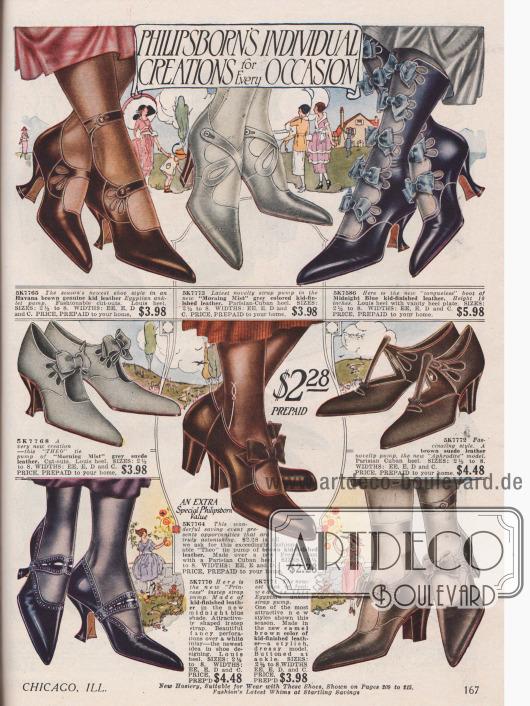 """Damenpumps aus Ziegen- und Wildleder mit Schleifen geschmückten Kreuz-, T- oder normalen Schnallen. Perforationen zieren den Großteil der Schuhe, deren Absätze im Louis oder im kubanischen Stil gehalten sind. Eine besondere Variation der Frühjahrsmode sind die """"Egyptian anklet"""" Pumps, die durch drei Paare vertreten werden und eine Art Mischung aus offenem Halbschuh und geschlossener Stiefelette sind. Diese Modelle werden mittels mehrerer Knöchelriemchen geschlossen."""