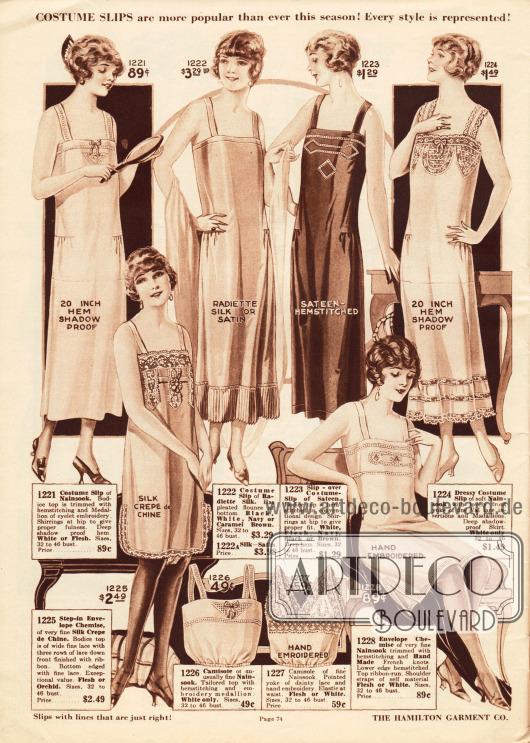 """Lange Kleidungsunterröcke sowie knielange Unterhemden aus Nainsook (besonders leichter Musselin), """"Radiette""""-Seide, Satin oder Seiden Crêpe de Chine.Die Unterröcke zeigen Durchzugstickerei, Hohlsäume, Spitzeneinsätze, plissierte Rüschen und Abnäher an der Taille. Die Unterhemden präsentieren ebenfalls Spitze und Hohlsäume. Unten in der Mitte befinden sich Damenuntertaillen aus Nainsook mit elastischem Taillenband."""