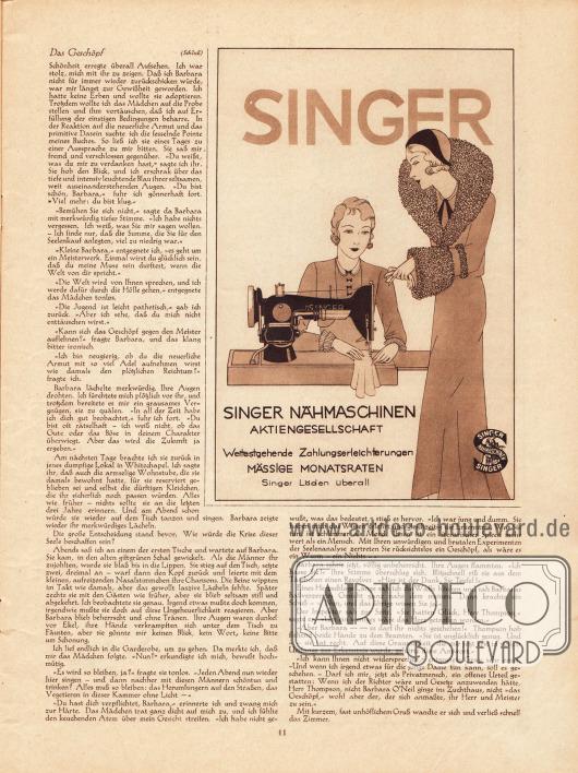 Artikel: O. V., Das Geschöpf. Werbung: Singer Nähmaschinen AG
