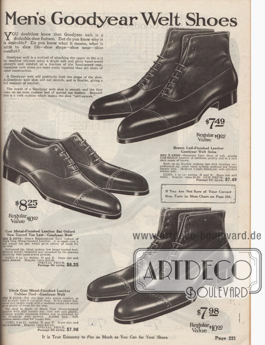 """""""Rahmengenähte Herrenschuhe"""" (engl. """"Men's Goodyear Welt Shoes""""). Ein Paar Oxford-Anzugschuhe mit geschlossener Schnürung (Balmoral Lace Shoe) sowie zwei Stiefeletten aus braunem Kalbsleder oder dunkelgraublauem bzw. metallgrauem Leder. Die Schäfte der Stiefeletten mit sind angerauten, matten Ledern gearbeitet, so dass ein zweifarbiger Effekt entsteht. Gerade Kappen mit Lyralochung auf der Naht. Oben links werden die Vorteile von rahmengenähten Schuhen für die Kunden zusammengefasst."""