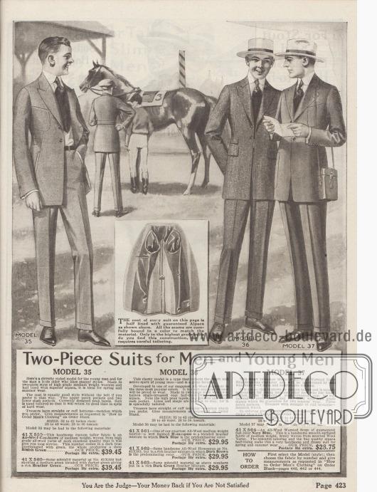 """""""Zweiteilige Anzüge für Herren und junge Männer"""" (engl. """"Two-Piece Suits for Men and Young Men"""").  Modell 35: Einreihiger Sakkoanzug für junge Männer und etwas ältere Herren, die einen flotten Stil bevorzugen. Sakko mit steigenden Revers, abnehmbarem Gürtel, zwei großen aufgesetzten Brusttaschen und zwei Schlitztaschen. Bestellbar in bläulich-grüner Kaschmirwolle (41X59) oder dunklem Heidekraut-Grün (41X60). Modell 36: Einreihiger Sakkoanzug für sportlich aktive junge Männer. Das Sakko schließt auf zwei Knöpfe, ist teilweise mit Alpaka gefüttert, zeigt steigende Revers, zwei eingearbeitete Taschen mit Klappen, eine modisch neue Wechselgeldtasche und Taillenabnäher. Glatter Schoßabschluss. Bestellbar in reinem Woll-Homespun in den Farben Heidekraut-Dunkelblau (41X61), Heidekraut-Dunkelbraun (41X62) oder Heidekraut-Dunkelgrün (41X63). Modell 37: Legerer Straßenanzug aus marineblauer Kammgarnwolle (41X63) für junge Männer und Herren, die bequeme Anzüge bevorzugen. Sakko mit aufgesetzten Taschen, einer schrägen Brusttasche und fallenden Revers. Hosen nach Wunsch mit oder ohne Hosenaufschläge."""
