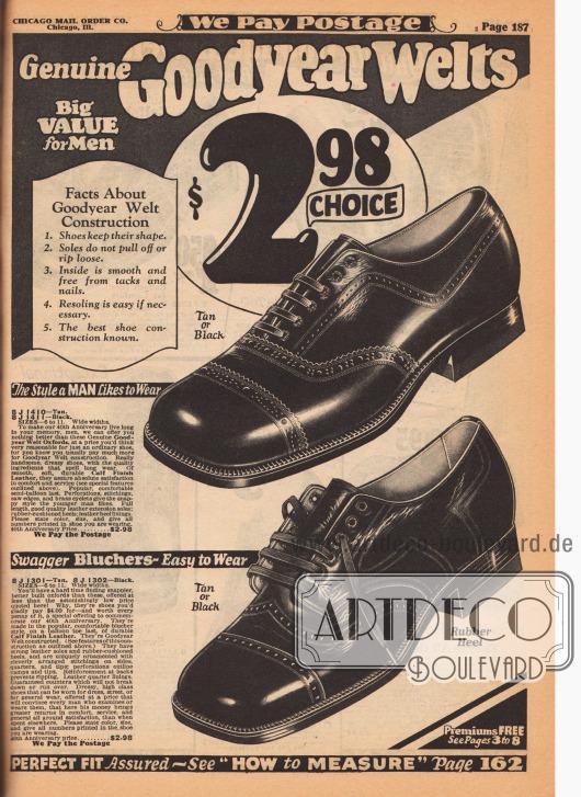 """""""Echte Goodyear Welt Herrenschuhe"""" (engl. """"Genuine Goodyear Welts""""). Herrenschuhe (Oxfords) mit quadratisch kantigen Kappen aus hellbraunem oder wahlweise schwarzem Kalbsleder für jeweils 2,98 Dollar. Oben ist ein Oxford abgebildet, unten ein Derby, der hier fälschlicherweise als """"Swagger Blucher"""" angeboten wird. Die Schuhe sind sogenannte """"Quarter Brogues"""" mit einer zurückhaltenden Lochlinienverzierung an den Nähten und ohne Lochverzierungen auf den Kappen. Die Schuhe sind zudem echte """"Goodyear Welts"""", d.h. mit dem Rahmen vernäht statt geklebt und deshalb besonders lang haltbar."""