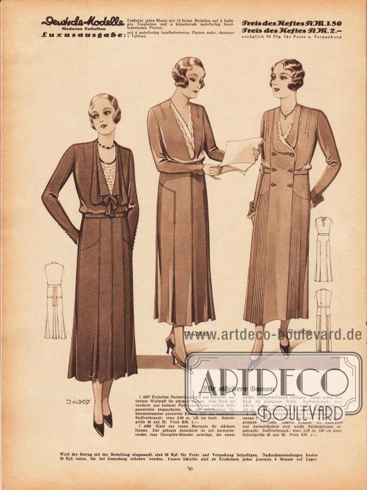 4367: Einfaches Nachmittagskleid aus braunem, meliertem Wollstoff für stärkere Damen. Dem Rock mit vorderer und hinterer Faltenpartie sind seitlich Hüftpassenteile eingearbeitet. Ein mit gekräuselter Valenciennesspitze garnierter Einsatz füllt den Ausschnitt. 4368: Kleid aus rotem Marocain für stärkere Damen. Der gebogte Ausschnitt ist mit harmonierenden rosa Georgette-Blenden unterlegt, die einem weißen Georgette-Einsatz aufliegen. Falten geben dem Rock die genügende Weite. 4369: Nachmittagskleid aus mittelfarbigem Flamenga für stärkere Damen. Der Rock ist mit Faltengruppen versehen. Aparter Kragen. An Ausschnitt und Ärmelrändern sind weiße Seidenplissees angebracht.