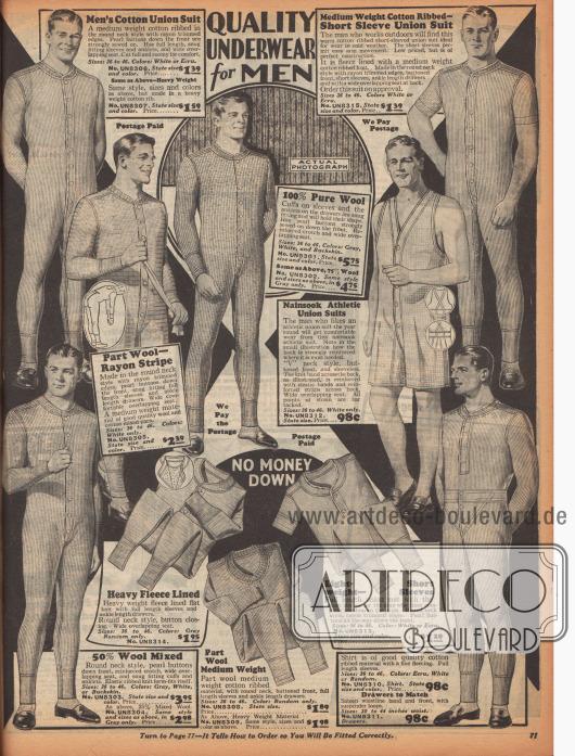 """Unterwäsche für Männer. Acht sogenannte """"union suits"""", einteilige Hemdhosen aus Baumwolle, Wolle oder Rayon mit einer Frontknopfleiste und einer hinteren Öffnung. Eine weitere Hemdhose zeigt kurze Ärmel und ein anderes Modell besteht dagegen aus zwei Teilen (unten rechts). Zudem wird eine Sportausführung mit kurzen Ärmeln und Beinen aus Nainsook (leichter Musselinstoff) präsentiert."""