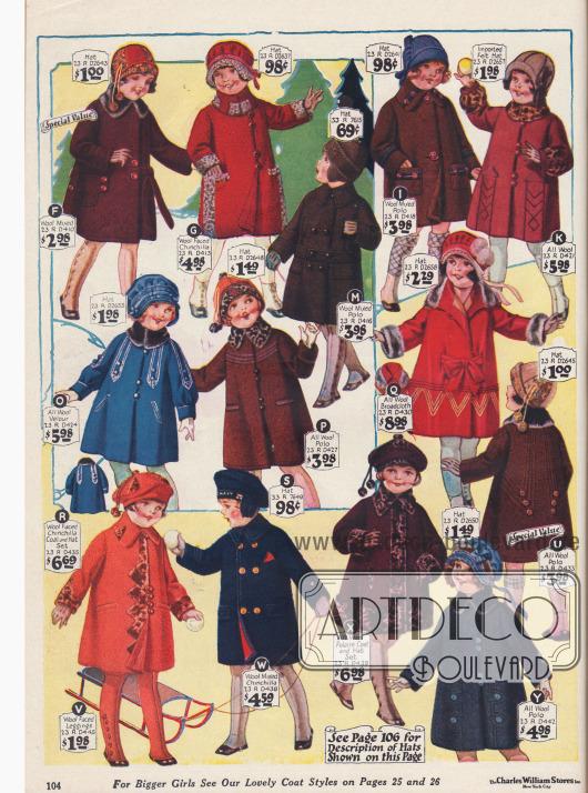 Wintermäntelchen und Mützen für kleine Mädchen von 2 bis 6 Jahren aus Wollstoffen und Chinchilla.