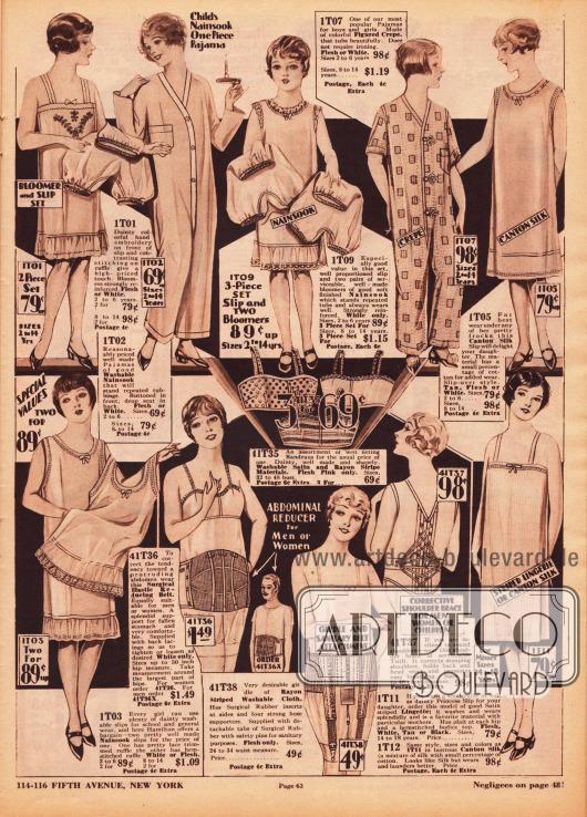 Unterwäsche, wie Unterröcke und Schlupfhöschen sowie Pyjamas für die Nacht für Mädchen von 2 bis 14 Jahre. Die Unterwäsche und die Pyjamas sind aus Nainsook (leichtem Musselin), Seide oder Krepp hergestellt. Im unteren Bereich befinden sich Bustiers, Abdomengürtel, Hüftgürtel und ein Rückenkorsett zur Haltungskorrektur. Die Bustiere sind aus Rayon und Satin und werden alle drei gemeinsam zum Preis von 69 Cent verkauft. Der Abdomengürtel ist auch für Männer bestens geeignet.