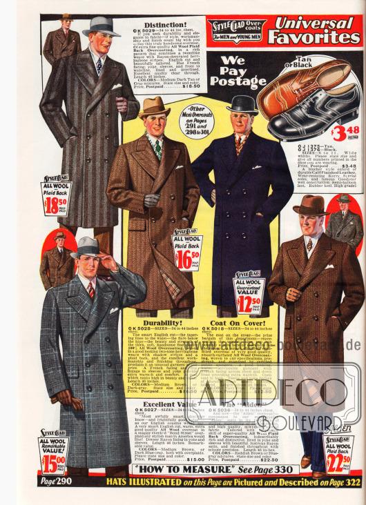 """Ausschließlich zweireihige Paletot Mäntel für Männer aus reinen Wollstoffen. Die Oberstoffe sind gestreift, fischgrätenartig, neutral oder grob kariert (""""Bond Street"""" Musterung unten links). Preise liegen zwischen 12,50 und 22,50 Dollar. Oben rechts wird zudem ein Paar Herrenschuhe aus Kalbsleder beworben."""