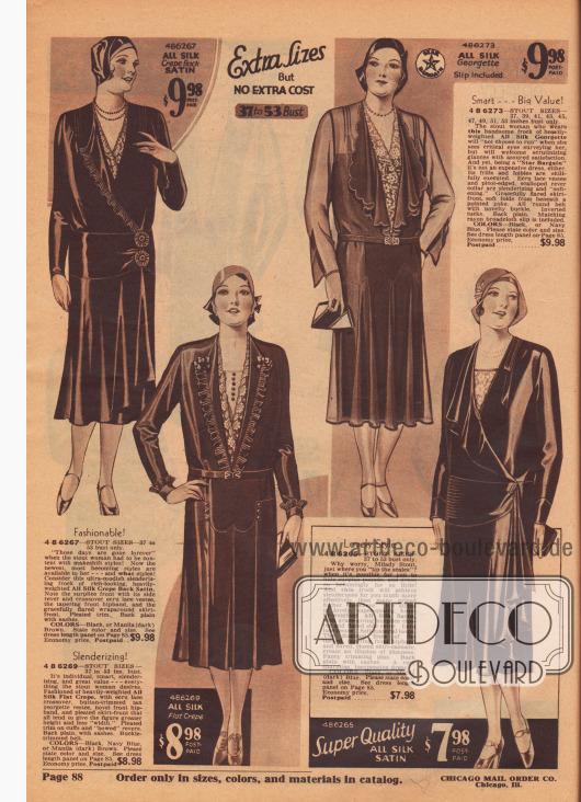 """Übergrößen, aber KEINE EXTRA KOSTEN – 37 bis 53 Zoll Oberweite. 4 B 6267 – ÜBERGRÖSSEN 37 bis 53 Zoll Brustumfang. Modisch! """"Diese Zeiten sind für immer vorbei"""", in denen sich die dicke Dame mit Behelfsmodellen begnügen musste! Jetzt stehen ihr die neuesten, schicksten Kleider zur Verfügung – und was für Kleider! Betrachten Sie dieses ultra-modische, schlank machende Kleid aus edel aussehendem Seiden-Krepp von schwerer Qualität mit Satin-Rückseite. Beachten Sie die wickelartige Vorderseite mit dem seitlichen Revers und dem überkreuzten écrufarbenen Spitzen-Westchen, das spitz zulaufende vordere Hüftpasse und die anmutig und rundum ausgestellte, glockige Rockfront. Plisseerüsche. Glatter Rücken mit Bändern. FARBEN: Schwarz oder Manila Braun (dunkel). Farbe und Größe angeben. Siehe Kleiderlängen-Tabelle auf Seite 85. Sparpreis, vorfrankiert… 9,98 $. 4 B 6269 – ÜBERGRÖSSEN 37 bis 53 Zoll Oberweite. Schlankmachend! Individuell, elegant, verschlankend und preiswert – alles, was sich die kräftige Frau wünscht. Gefertigt aus reinem, glattem Seiden-Krepp von schwerer Qualität, mit écrufarbenem, überkreuztem Plastron und knopfbesetzter hellbrauner Georgette-Weste, neuartiger vorderer Hüftpasse und Rock mit vorderen Kellerfalten, die alle dazu neigen, der Figur mehr Höhe und weniger """"Breite"""" zu verleihen. Plisseebesatz an Manschetten und den """"geschweiften"""" Revers. Glatter Rücken mit Schärpen. Gürtel mit Schnallenbesatz. FARBEN: Schwarz, Marineblau oder Manila Braun (dunkel). Bitte Farbe und Größe angeben. Siehe Kleiderlängen-Tabelle auf Seite 85. Sparpreis, portofrei… 8,98 $. 4 B 6265 – ÜBERGRÖSSEN 37 bis 53 Zoll Brustumfang. Reizendes Modell. Warum sollten Sie sich als stark gebaute Dame Sorgen machen, wenn Sie das Zünglein an der Waage sind und es Ihnen möglich ist, überschüssige Pfunde zu verstecken und sich für so wenig Geld so kleidsam zu kleiden? Dieses Kleid wird Ihnen mit größerer Leichtigkeit die gewünschte Schlankheit verschaffen, als so manches Kleid, das anderswo """