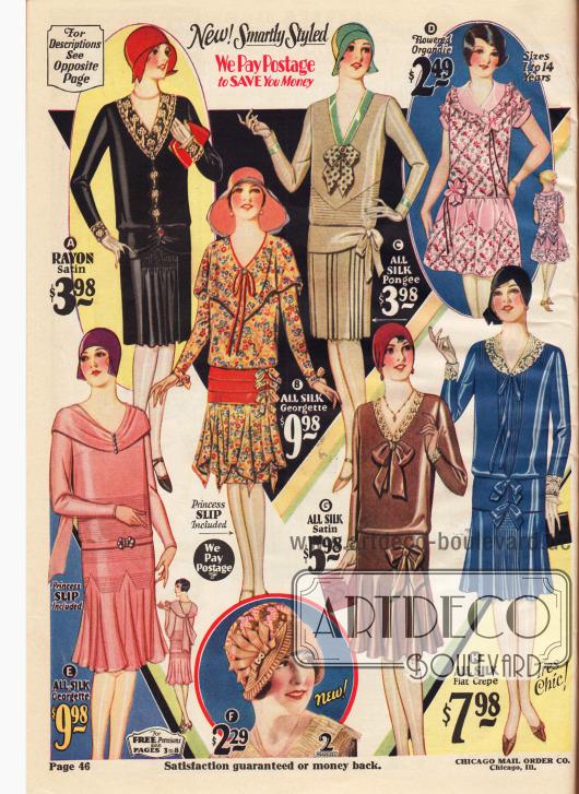 Elegante Damenkleider für den Nachmittag aus Rayon-Satin (A), Seiden-Georgette (B, E), Seiden-Pongee (C), Seiden-Satin (G) und Seiden Krepp (H). Modisch sind Spitzengarnituren, Capekragen, Schleifen am Ausschnitt oder der Hüfte, glockig weite, Falten werfende Röcke oder mit Reihenziehung eingearbeitete Falten- oder Plisseeeinsätze. Horizontale Biesen markieren bei zwei Modellen die Gürtellinie. Oben rechts ist ein Kleid für 7 bis 14-jährige Mädchen aus geblümtem Organdy mit rosa Kunstblüten. Unten in der Mitte ist ein kleidsamer Damenhut aus Hanfgeflecht mit flächiger Stickerei. Eine mit Strasssteinen besetzte Hutnadel hält eine Ripsband-Applikation.