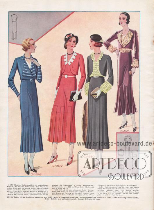 Nachmittagskleider mit fast Knöchel langen Röcken. Drei Bolerokleider rechts.