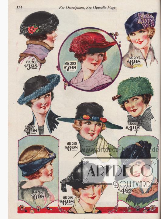 """Neun elegante Damenhüte zu Preisen von 3,98 bis 7,98 Dollar. 6K200 / 6K201: Turban aus schwarzem oder marineblauem Seiden-Samt, aufgeputzt mit einem Band aus lockigen Straußenfedern, einem Bündel Samt-Früchte und Blättern. 6K202 / 6K203 / 6K204: Geschmackvoller Hut aus kirschrotem Seiden-Samt. Hochgebogene Krempe mit schwarzem Samt abgefüttert. Dekorative große Straußenfeder zur Zierde. 6K205 / 6K206 / 6K207: Pariser Turban aus echtem Biberfell mit kronenartiger Krempe in Dreispitz Manier. Lila Weintrauben mit entsprechendem Blattwerk als Dekoration. 6K208 / 6K209: Hut aus Seiden-Spiegel-Samt. Leicht gekniffte Krone mit Schnur-Effekt und lockigem Straußenfederband in Kopenhagen Blau. 6K210 / 6K211 / 6K212: Schöner Florentinerhut aus Seiden-Samt mit breiter, gerader Krempe in Segelhut-Form. Aufputz aus pastellfarbenen Knospen und Blättern. 6K213 / 6K214 / 6K215: Enganliegender Pariser Turban aus jadegrünem Seiden-Samt, rundum mit geglätteten Straußenfedern verziert. Dekorative Hutnadel als Ornament. 6K216 / 6K217: Schicklicher Seglerhut aus Seiden-Samt, glänzendem, zweifarbigem Hutmacher-Plüsch (engl. """"Hatters' Plush"""") und Biberfell. Zierapfel als Ornament. 6K218: Kleidsamer Damenhut aus schwarzem Seiden-Spiegel-Samt mit gekräuselter Krone. Seiden-Fransen-Pompon, Kordel und Quaste aus Seiden-Chenille. Hochgeschlagene Krempe mit Schleifenfransen. 6K219 / 6K220: Elegant gearbeiteter Hut aus Seiden-Spiegel-Samt mit gekräuselter Krone, einseitig drapierter Krempe und glitzernder Hutnadel."""