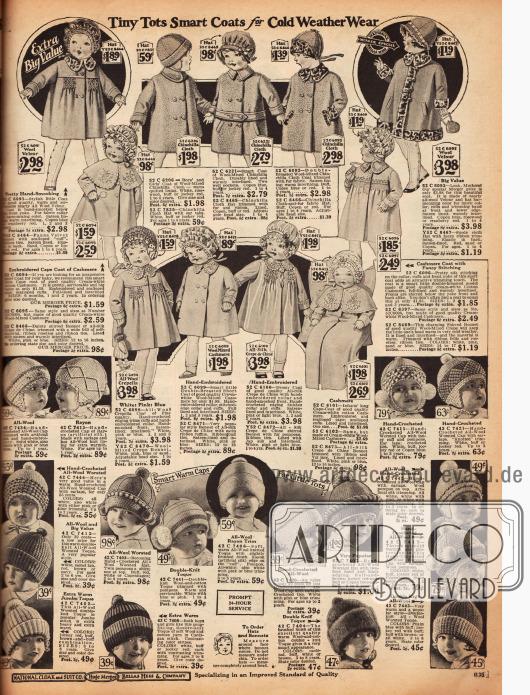 Kleidung für Kleinkinder: kleine Mäntelchen aus Woll-Velours, Chinchilla, Seiden Crêpe de Chine und Woll-Kaschmire. Passend dazu finden sich kleine Strickmützchen für 39 ¢ bis 1 $, um den Kopf warm zu halten.