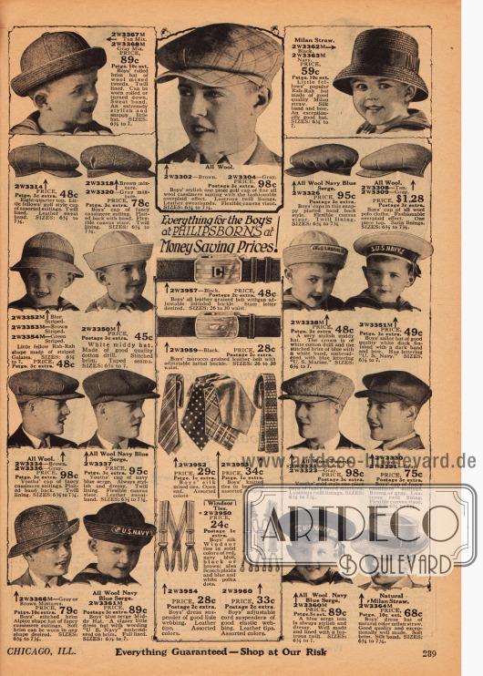 Kopfbedeckungen, Ledergürtel mit dekorativer Schnalle, Krawatten in verschiedenen Musterungen aus Seide und Hosenträger für Jungen. Die Hüte sind überwiegend Mützen im Marine- und US Navy Stil sowie hauptsächlich Schiebermützen.