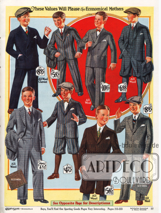 Schul- und Sonntagsanzüge mit langen Hosen und zwei Anzüge mit kurzen Hosen für Jungen im Alter von 6 bis 16 Jahren. Die Anzüge sind aus Woll-Cheviot, Woll-Kaschmir-Mischgewebe, Woll-Kaschmir oder auch reiner Wolle. Die Stoffe zeigen Streifen-, Fischgräten- und Karomuster. Die Stofffarben sind Marineblau, Grau, Grau-Blau oder Braun. Die Sakkos sind entweder zweireihig mit drei Knopfpaaren oder einreihig mit zwei Knopfpaaren. Unter den Anzügen befindet sich ein sportlicher Norfolk-Anzug (G) mit Taillengürtel. Mehrere Modelle werden mit einer zweiten Wechselhose geliefert (B, D, E, G).