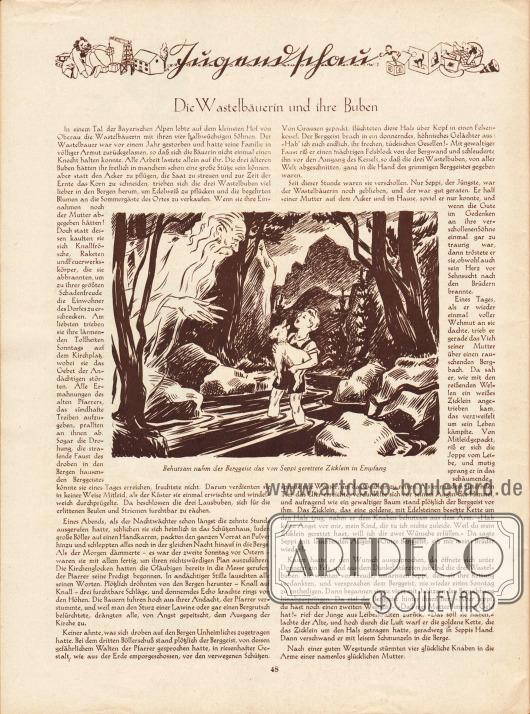 Artikel:O. V., Die Wastelbäuerin und ihre Buben.Zeichnung: unsigniert.