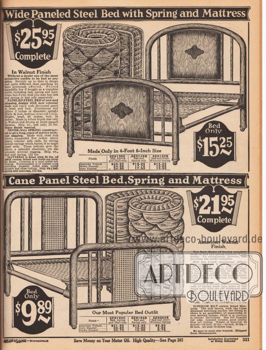"""Etwas teurere Metallbetten als auf der vorigen Seite für Einzelpersonen mit separat bestellbaren Metallfedern und passenden Matratzen. Die Stahlkonstruktionen sind lackiert in den Farben und Oberflächen """"Amerikanisches Walnussbaumholz"""", Braun oder Elfenbein."""