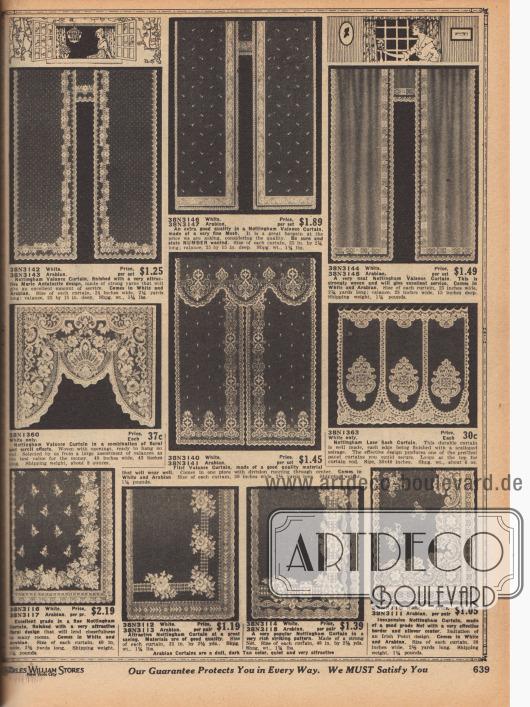 """Nottingham Vorhänge und Gardinen für Wohnzimmer, Salons und Schlafzimmer aus leichten oder besonders ornamentalen Spitzen- und Netzgeweben mit Spitzenkanten. Die Höhen und Breiten (Abmessungen) der hier gezeigten Fenstervorhänge variieren. Oben links Modell mit dem Namen """"Marie Antoinett""""."""