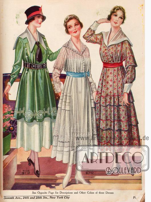 Mitte: Weißes Spitzenkleid mit Bolero-Effekt und blauem Taillenband. Äußere Kleider mit ausladenden Kragen. Rechtes Kleid in persischer Farbgebung.